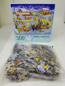 """Winter Hayride"" 300 Large Piece Jigsaw Puzzle 100% COMPLETE Sandy Rusinko"