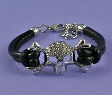 Unisex Black Leather Look Silver Skull Bracelet