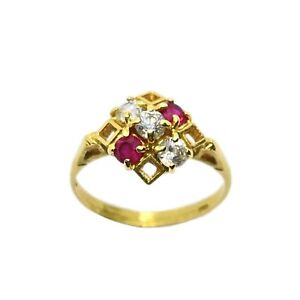 Vintage 18ct Gold Created Ruby & Cubic Zirconia Ladies Ring