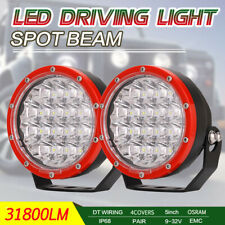 OSRAM 31800LM Pair Red Round 5Inch Led Driving Lights Spot Work 4WD Offroad SUV