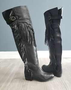 HAKEI Spain soft black leather thigh high fringe western riding boots 41/10
