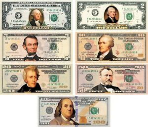 * Complete Set of 7 * COLORIZED 2-SIDED U.S. Banknotes $1/$2/$5/$10/$20/$50/$100