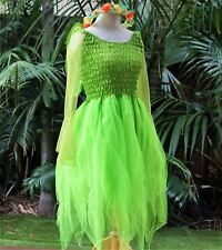 Women's Fairy Dress Costume with Sleeves & Wings - Neon Green/Gold