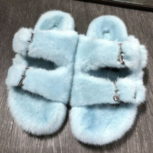 Womens Slides Full Covered Real Mink Fur Slippers Sandals Indoor Outdoor Shoes