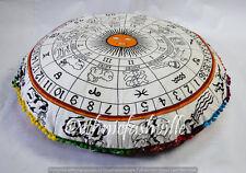"Indian 32"" Floor Pillow Cover horoscope Mandala Large Meditation Cushion Pouf"