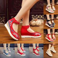 New Womens Chinese Handmade Embroidered Flower Flat Shoes Floral Mary Jane Shoes