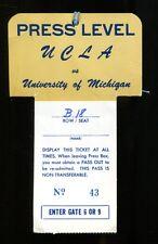 1971 Michigan Wolverines v UCLA Bruins Press Pass Ticket Ann Arbor 25586