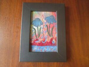 "KAREN LINDUSKA Original Fiber Art Quilt Framed & Signed 6"" X 8"""