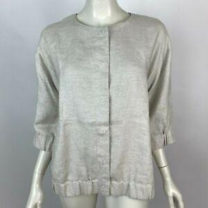 Eileen Fisher Twinkle Linen Jacket Blazer Beige 3/4 Sleeve Lined Women P M NWT