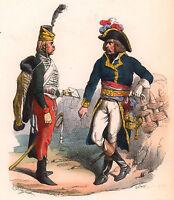 Gravure XIXe Général Républicain et Son Guide Révolution Française Uniforme