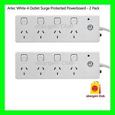 ARLEC White 4 Outlet Surge Protected Powerboard - 2 Pack Power Board eBC