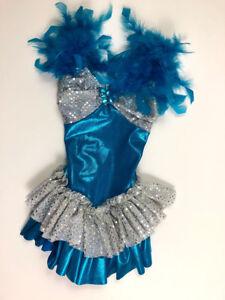 Costume Gallery Child Small Dance Bodysuit Ballet Blue Feathers Bird Sparkle