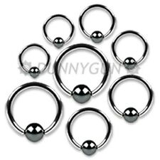 8 Pieces 16G Steel Captive Hematite Bead Rings 16 gauge body piercing dunnygun