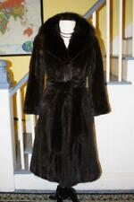 Stylish Ranch MINK Fur Coat With Real SABLE Fur Collar And Fur Belt Women's S