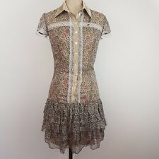 LIZA EMANUELE Chiffon Dress SZ 6 Tiered Button Front Satin Trim