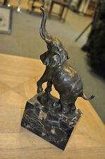Elephant Bronze on Marble Block Base Bronze Elephant