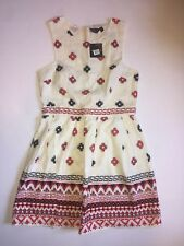 TOPSHOP Tribal Print Dress Size 10 A-Line Beige Red Black NWT*
