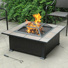 New Outdoor Garden Patio Fireplace Steel Ceramic Fire Pit Heater Antique Bronze
