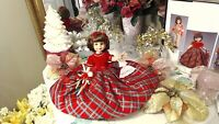 "BETSY McCALL TONNER 14"" 1999 ORIG CHRISTMAS COTILLION PLAID TAFFETA! RED VELVET!"