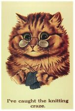 Cat Knitting illustration by Louis Wain human cats Mayfair Cards of London