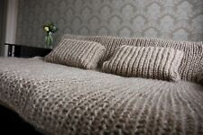 Premium Longhair Mohair Plaid Blanket Bedspread& 2 pillow cases hand knit Beige