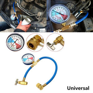 Universal Car Air Conditioning AC R134A Refrigerant Recharge Hose Pressure Gauge