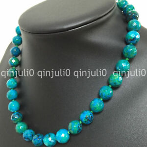 """10mm Blue Green Azurite Faceted Round Beads Gemstone Necklaces 18"""""""