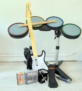 Beatles Rockband PS3, Drum kit, Guitar, two Microphones with band hero -  boxed