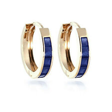 1.30 Ct Princess Cut Blue Sapphire Earrings 14K Yellow Gold Studs