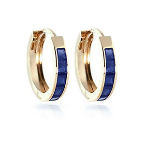 1.30 Ct Princess Cut Blue Sapphire Earrings 14K Yellow Gold Women's Hoops Studs