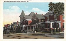 Palmyra Pennsylvania~Main Street Homes~Turret~Square Structure~Postcard 1920s