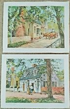 2 VTG Wooten Water Color Prints~Printing Office~Rhinoceros sign WILLIAMSBURG