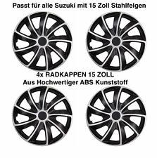 4x Radkappen Radblende SILBER SCHWARZ Für Stahlfelgen 15 Zoll (5084-DP-15) (27)