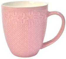 Set of 6 Pink Ceramic Large Mugs Coffee & Tea Mugs 400ml Soup mugs Textured
