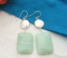 White  Coin Pearl Amazonite Silver Hook Earrings