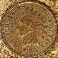 1871 Indian Head Cent - VF Details, READABLE LIBERTY, Old Light Cleaning  (M069)
