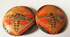 boucle de ceinture ancienne en bois peint à décor d'abeilles