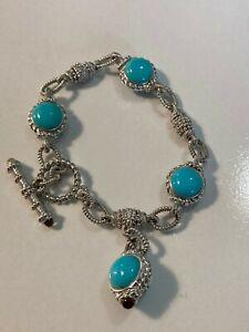 """Judith Ripka Sterling Silver Turquoise Station Bracelet 7 1/4"""" Never Worn"""