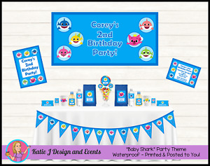 Personalised Baby Shark Birthday Party Decorations Favours