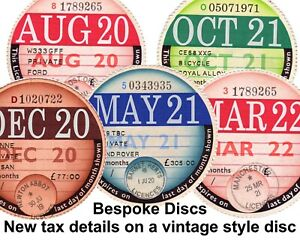 Vintage 1960s Style Tax Disc / MOT Reminder Reproduction Replica Bespoke