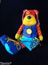 Manhattan Toy Colorful Educational Plush Dog ~ 2003 ~ Button Zip Buckle ~ EUC!