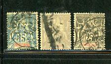 Indo-China Scott # 10, 11, 14 - Used - Cv=$8.65 - Nice Stamps
