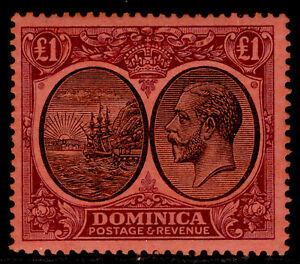 DOMINICA GV SG91, £1 black & purple/red, LH MINT. Cat £225.