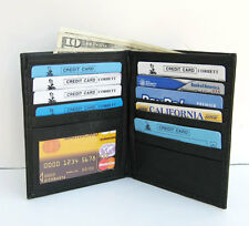 BLACK MEN's LAMBSKIN LEATHER BIFOLD HIPSTER TALL WALLET CARD HOLDER New M25