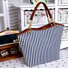 New Women Canvas Shop Bag Shoulder Bag Fringe Stripe Handbags Casual Tote Blue