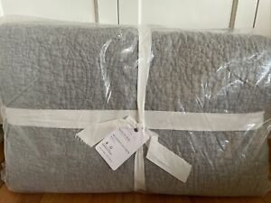 New Pottery Barn Belgian Flax Linen Floral King Quilt Flagstone Gray