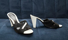 Franco Sarto womens black textile with white base sandals size 8, heel 3,5