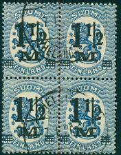 "FINLAND #126av (96v1,v2) 1½m ovpt in used block of 4 showing ""Narrow 2"" variety"