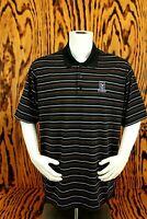 Adidas Golf Polo Shirt Big Mens 2XL Black Stripe Short Sleeve ClimaCool