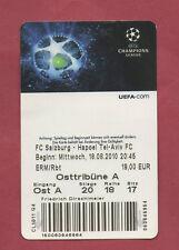 Orig.Ticket   Champions League  2010/11  RED BULL SALZBURG - HAPOEL TEL AVIV  !!
